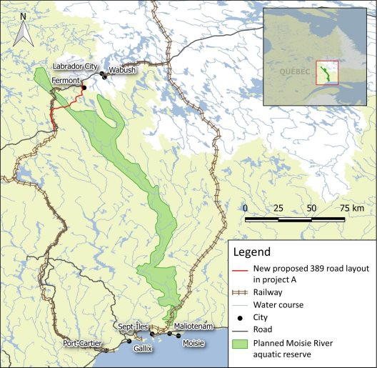Figure 7: Map of the planned Moisie River aquatic reserve