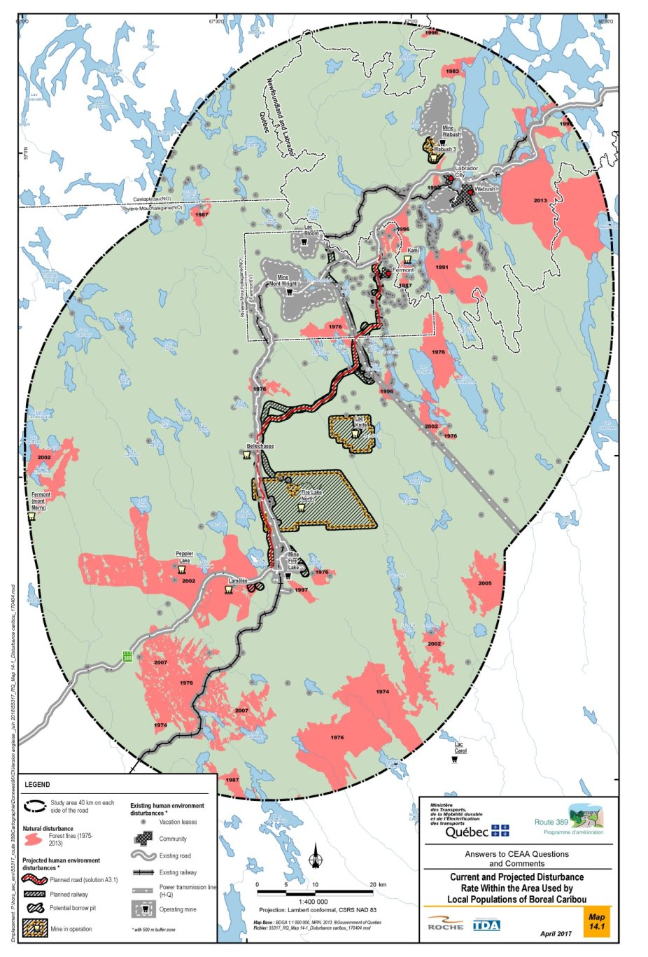 Figure 20: Existing and projected disturbance levels in the area used by local boreal caribou populations